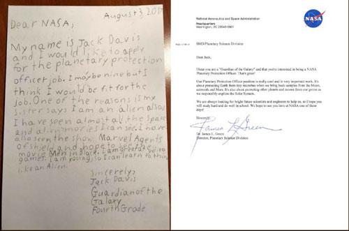 'Vệ binh Ngân hà 9 tuổi viết thư xin việc ở NASA