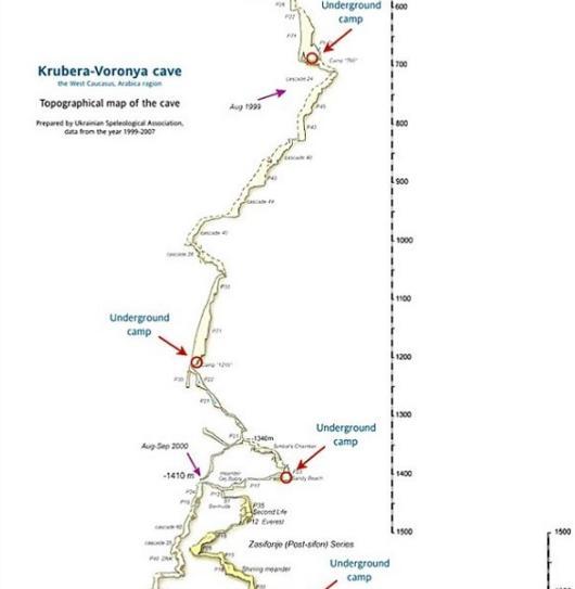 Bản đồ hang động sâu nhất trên Trái đất có từ kỷ Phấn Trắng
