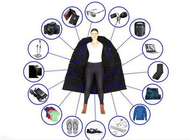 Chiếc áo jacket có thể chứa tới 15kg hành lý