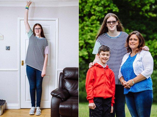 Cô bé 12 tuổi lập kỷ lục thiếu nữ cao nhất thế giới