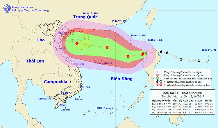Cơn bão số 11 tiến nhanh vào biển Đông