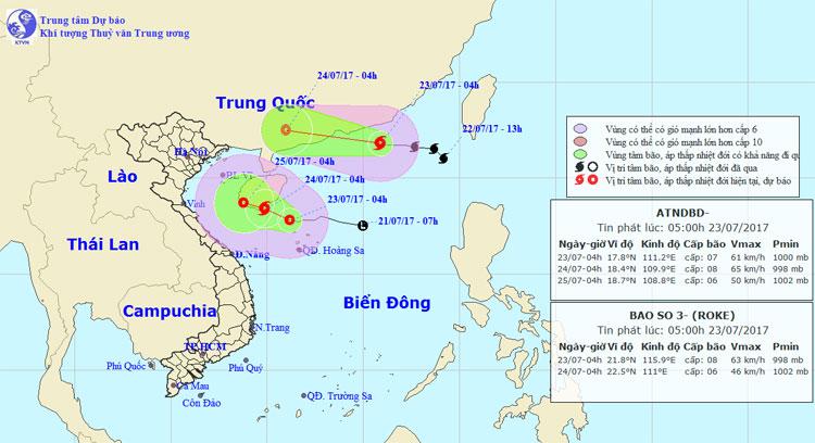 Dự báo thời tiết 23/7: Áp thấp nguy cơ mạnh lên thành bão