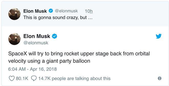 Elon Musk cho biết SpaceX sẽ dùng bóng bay khổng lồ trong các giai đoạn phóng tên lửa