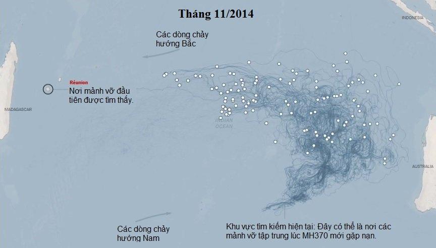 Hành trình và hướng đi của các mảnh vỡ MH370
