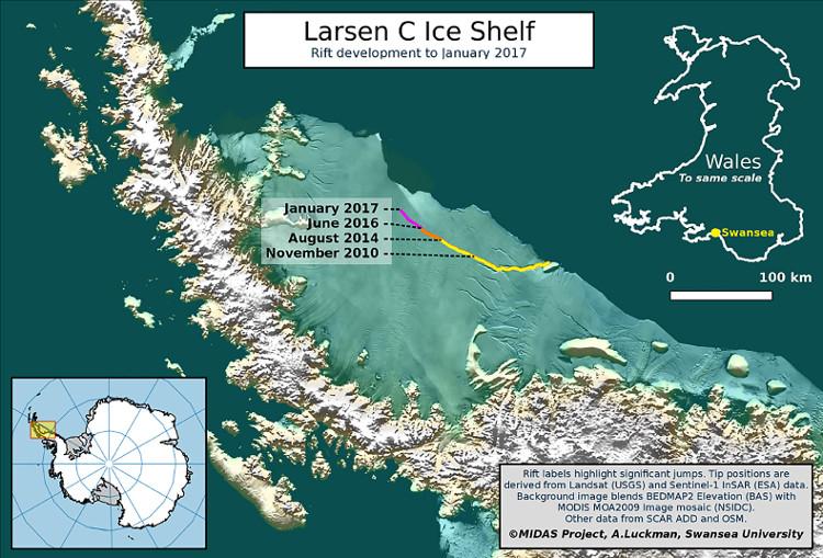 Khe nứt khổng lồ ở thềm băng Nam Cực sắp đẻ con
