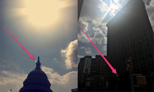 Lưỡi liềm xanh bí ẩn trong ảnh chụp nhật thực
