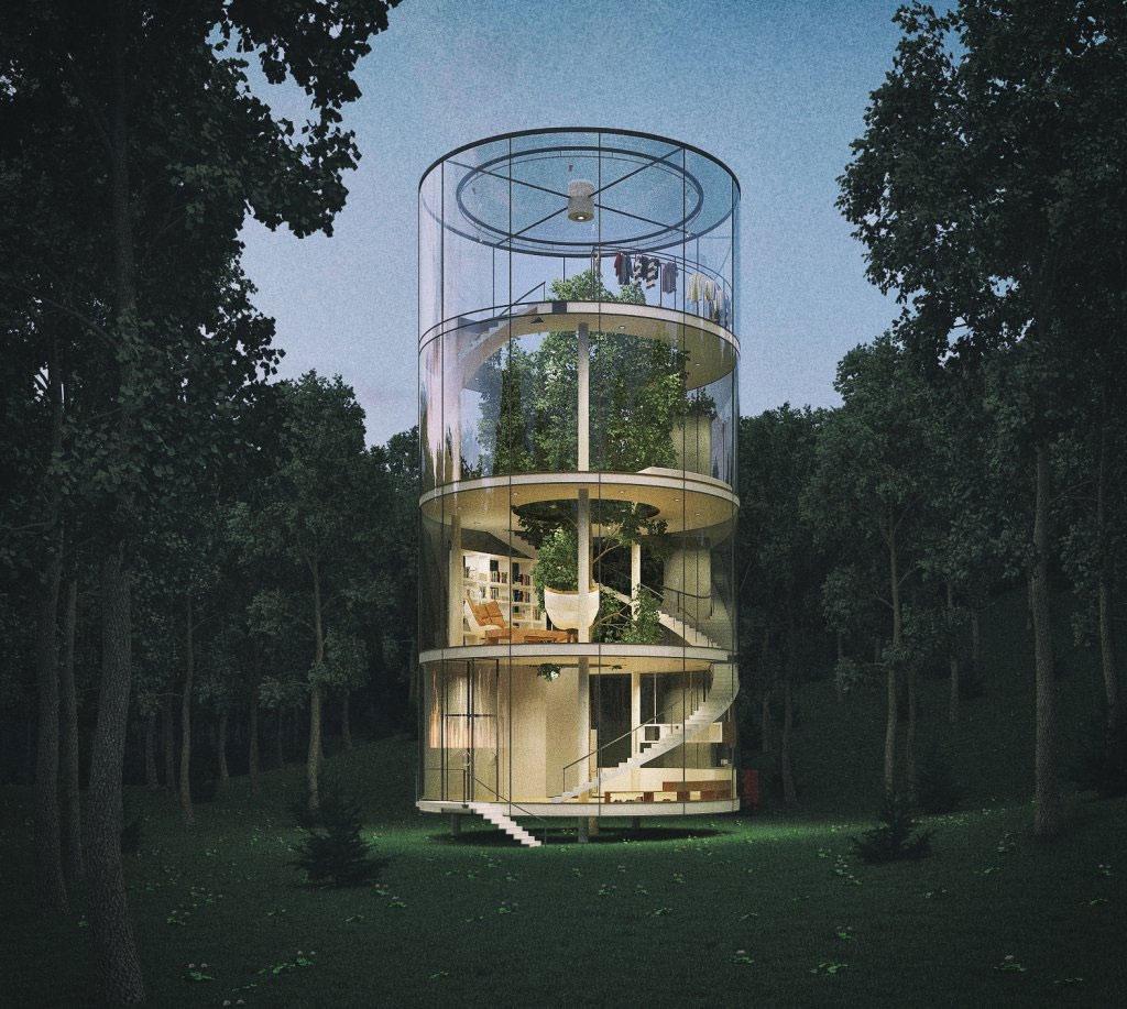 Ngôi nhà trong suốt kỳ diệu trong rừng cây