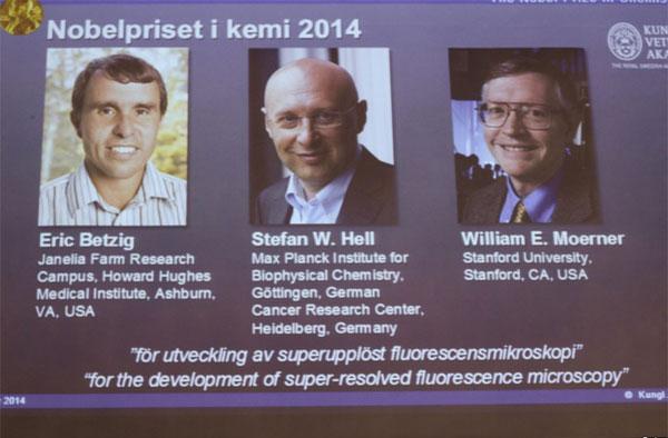 Nobel Hóa học 2014 thuộc về ba nhà khoa học Mỹ và Đức