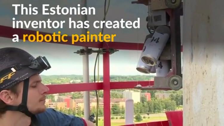 Robot họa sĩ leo ống khói vẽ tranh tường cao 100m