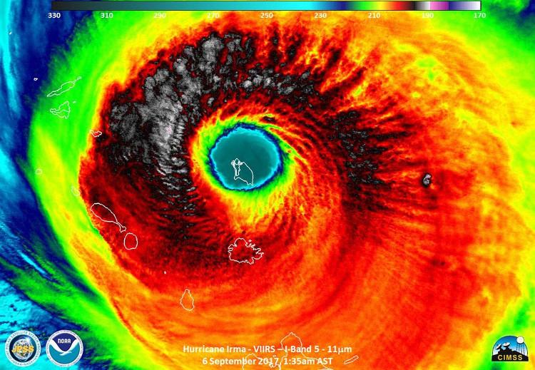 Sức mạnh hủy diệt của bão quái vật Irma nhìn từ vệ tinh