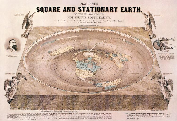 Tấm bản đồ cổ về trái đất phẳng