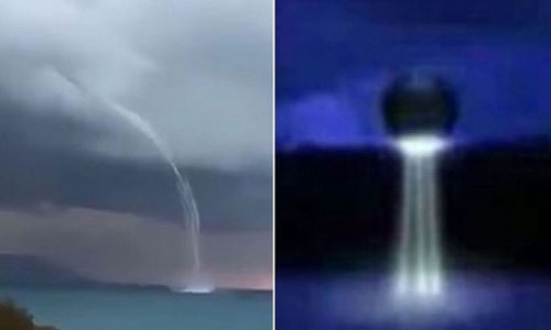 Video: UFO nghi hút nước biển Địa Trung Hải bằng vòi rồng
