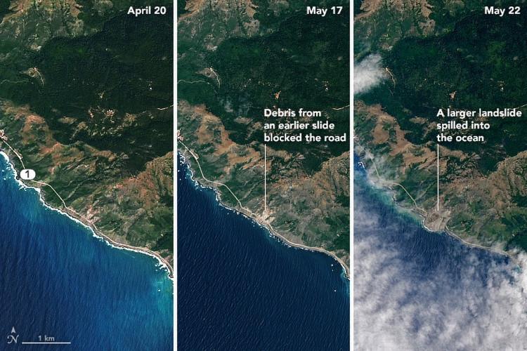 Vụ trượt đất nghiêm trọng ở California nhìn từ vệ tinh NASA
