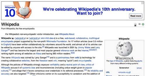 Wikipedia lên 10 và những vụ lừa thế kỷ