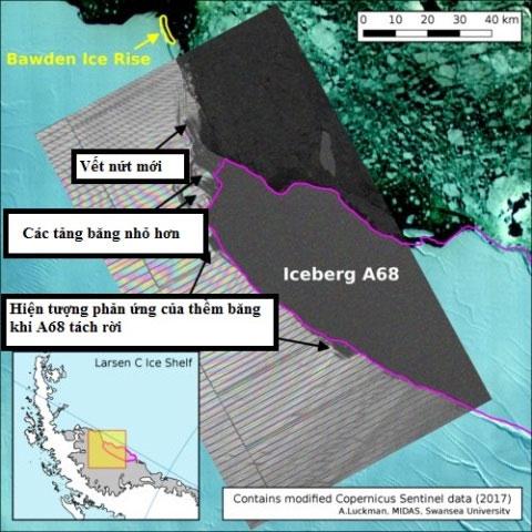 Xuất hiện vết nứt mới sau khi tảng băng nghìn tỷ tấn vừa tách khỏi Nam Cực