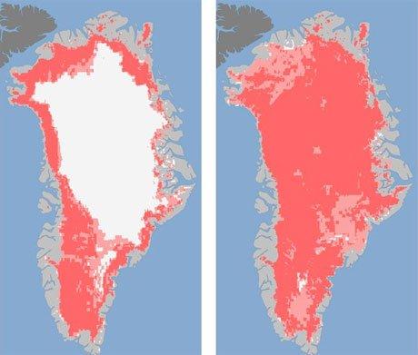 Băng Greenland bất ngờ tan chảy ồ ạt