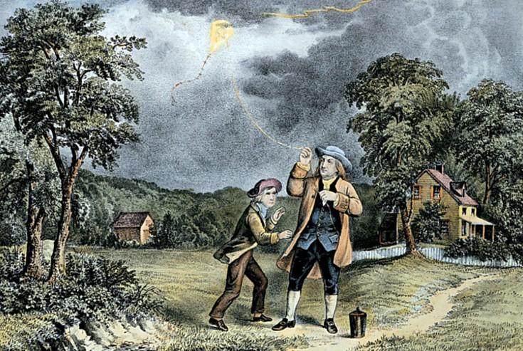 Ngày 15/6: Benjamin Franklin thực hiện thí nghiệm với sét đầu tiên bằng cánh diều
