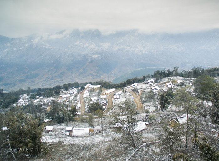 Sa Pa phủ trắng tuyết như châu Âu nhìn từ trên cao