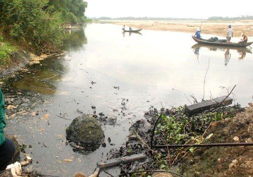 Sông Trà Khúc bị nhuộm đen bởi 14,5 tấn dầu FO