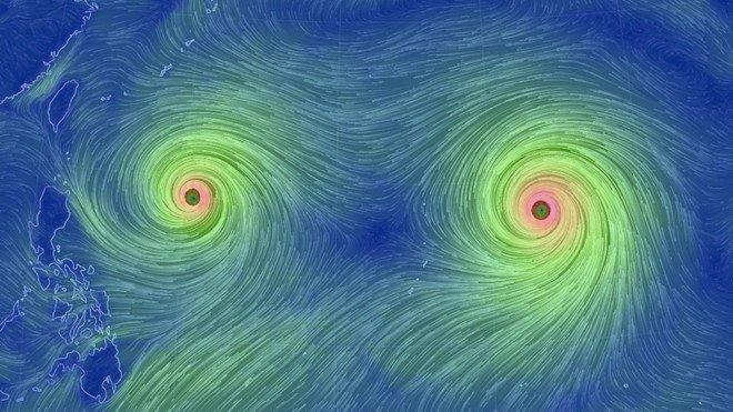 Tâm bão song sinh trên Thái Bình Dương nhìn từ vũ trụ