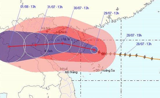 Vị trí và cường độ của cơ bão số 3