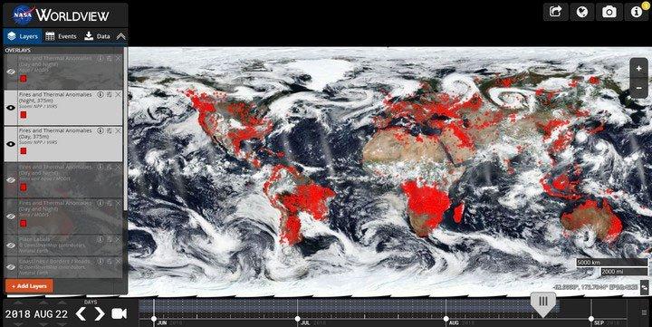 Ảnh vệ tinh NASA cho thấy Trái đất đang chìm trong biển lửa