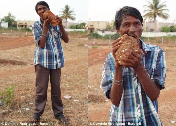 Hãi hùng dị nhân ăn 3kg bùn đất mỗi ngày, nhai gạch như bim bim