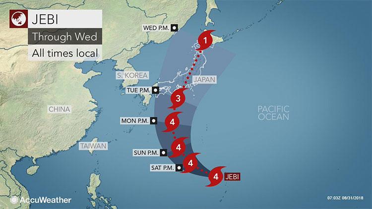 Ít nhất 9 người thiệt mạng trong bão Jebi ở Nhật Bản