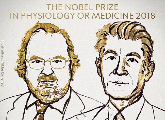 Nghiên cứu mới về điều trị ung thư giành Giải Nobel Y học 2018