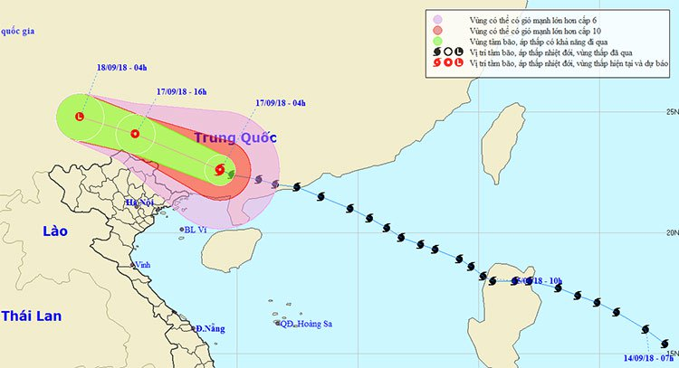 Siêu bão Mangkhut suy yếu thành áp thấp nhiệt đới trên đất liền Trung Quốc