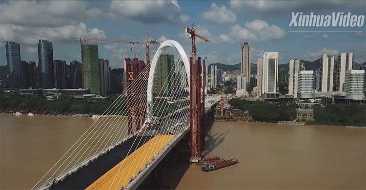 Trung Quốc thông xe cầu dây văng bất đối xứng cao nhất thế giới