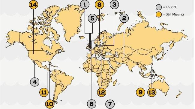 14 điểm điểm ẩn chứa những kho báu khủng nhất thế giới