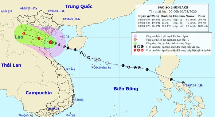 Áp thấp nhiệt đới mạnh lên thành bão số 2 tiến vào vùng biển Thái Bình - Nghệ An, áp sát đất liền