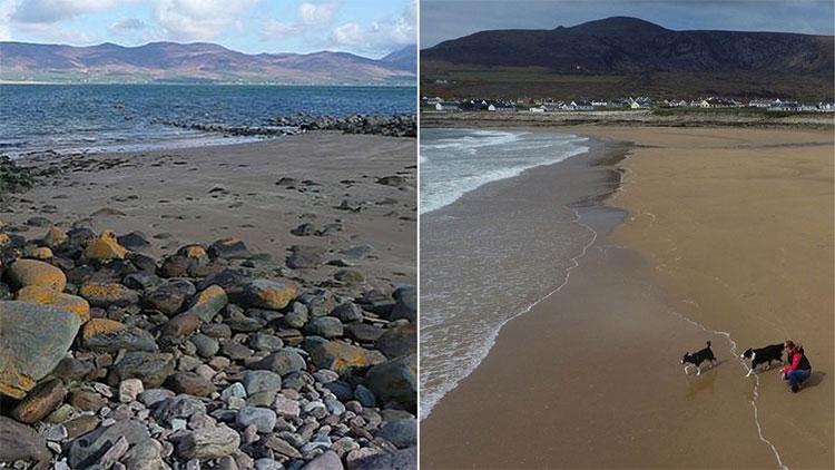 Bãi biển dài 300m ở Ireland biến mất sau bão mạnh