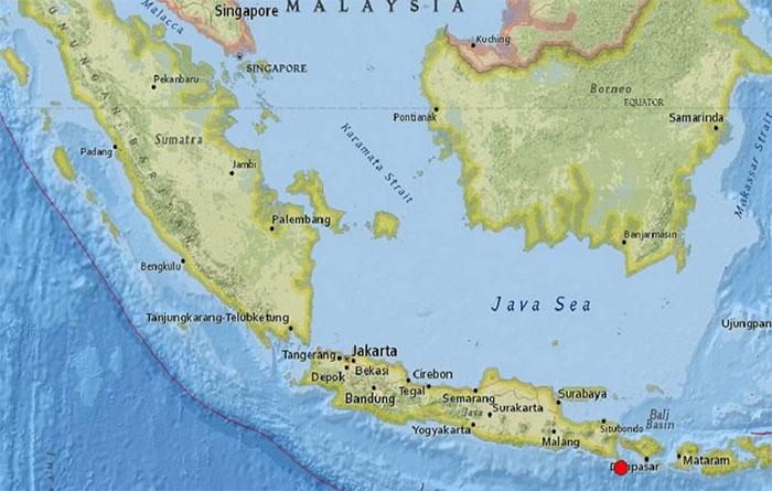Bali rung chuyển do động đất dưới đáy biển