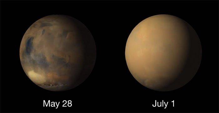 Bão bụi khổng lồ chấm dứt mùa đông phía nam sao Hỏa
