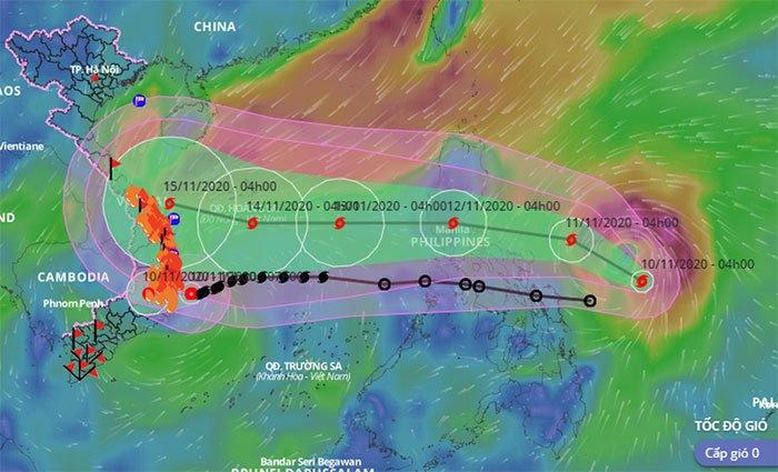 Bão số 13 giật cấp 15 có tên quốc tế Vamco đang vào biển Đông