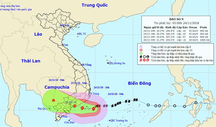 Bão số 9 giật cấp 12 cách đảo Phú Quý 100km, vùng ảnh hưởng mưa rất to