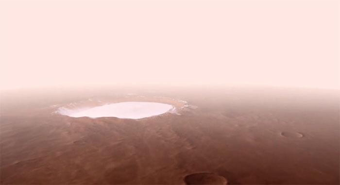 Bay qua hố băng rộng 82km trên sao Hỏa