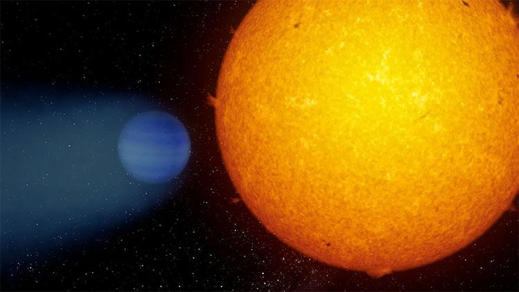 Bí ẩn hành tinh khí khổng lồ với vệt khí heli phía sau