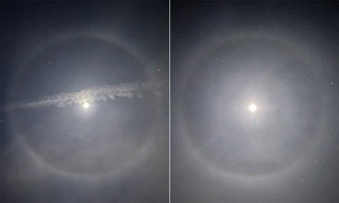 Cảnh tượng độc đáo: Quầng sáng tròn xuất hiện quanh Mặt trăng