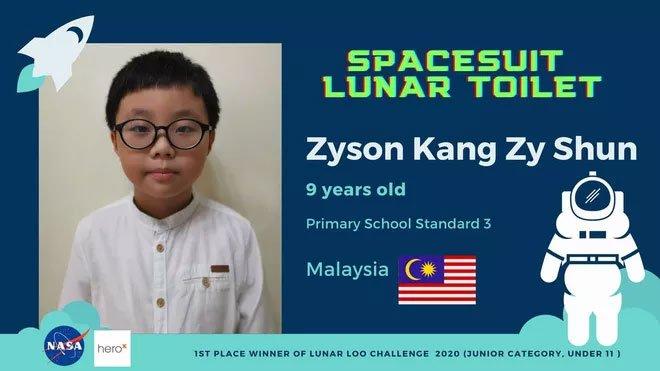 Cậu bé 9 tuổi người Malaysia chiến thắng cuộc thi thiết kế toilet trên Mặt trăng của NASA