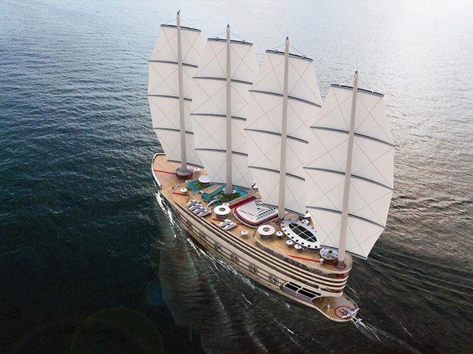 Concept siêu thuyền buồm khổng lồ chứa cả bể bơi, sân bóng