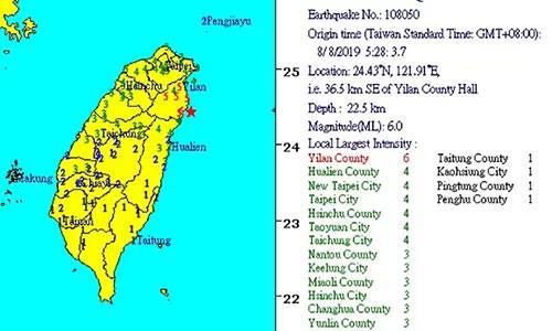 Đài Loan rung chuyển bởi động đất 6 độ