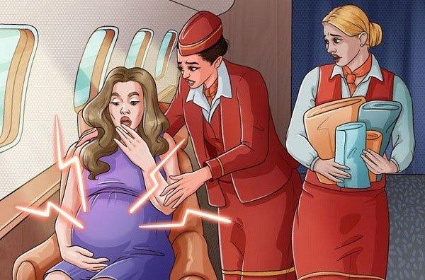 Điều gì xảy ra khi sinh con trên máy bay?
