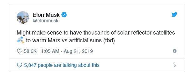 Elon Musk muốn sử dụng những tấm gương khổng lồ để sưởi ấm sao Hỏa
