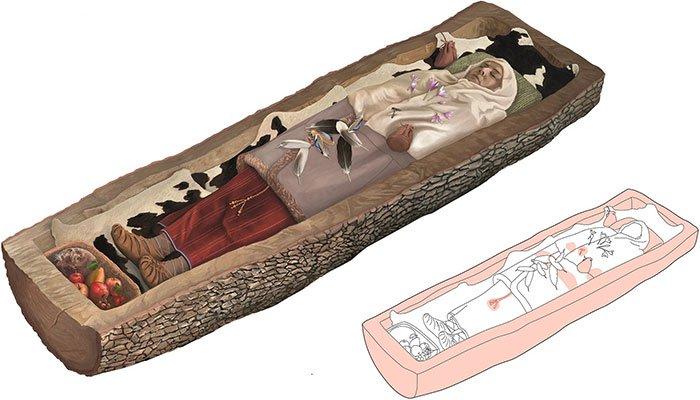 Hài cốt 2.200 năm của người phụ nữ trong quan tài cây