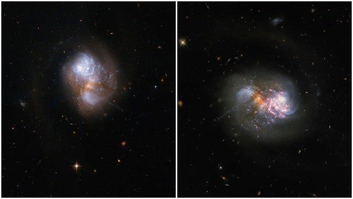 Hình ảnh ngoạn mục khi 2 thiên hà sáp nhập với nhau từ kính viễn vọng Hubble