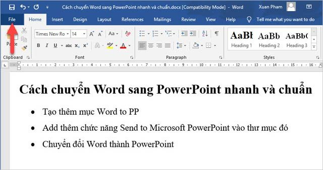 Hướng dẫn chuyển nội dung Word sang PowerPoint tự động