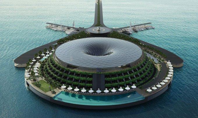 Khách sạn nổi rộng 35.000m2 có thể xoay tròn